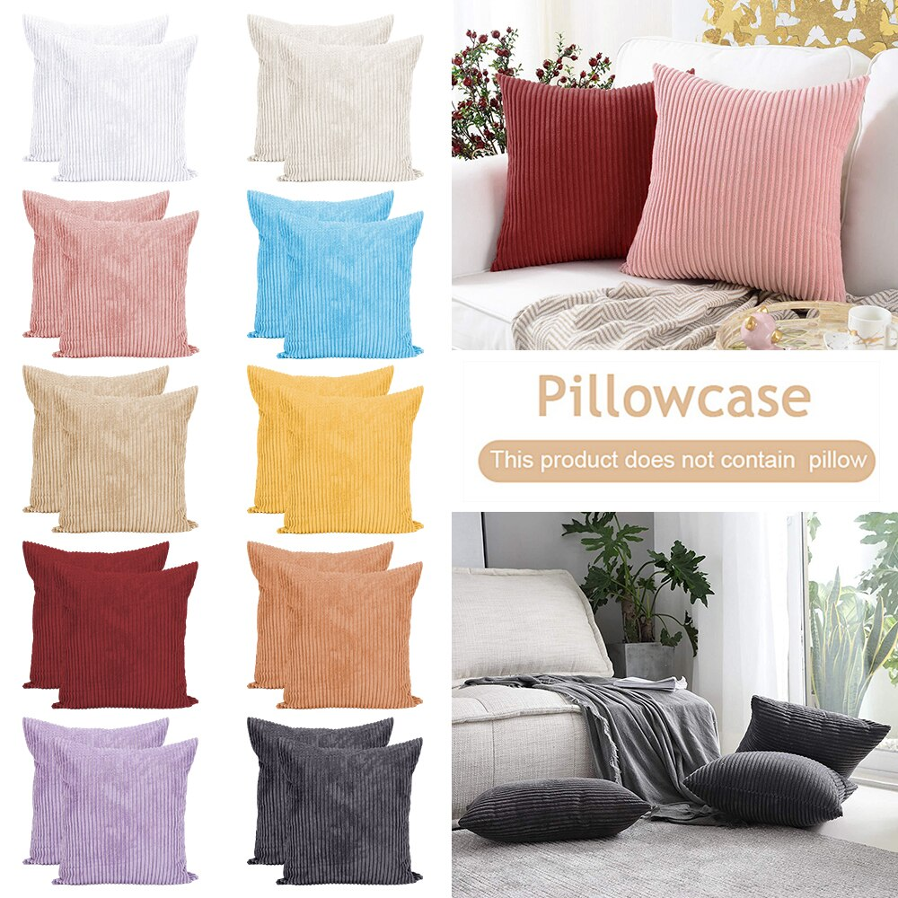 Funda de almohada de Color sólido a rayas de estilo nórdico Ins 2 uds., funda de cojín sencillo para cama de hogar, sofá, sillón, Fundas de cojín decorativas