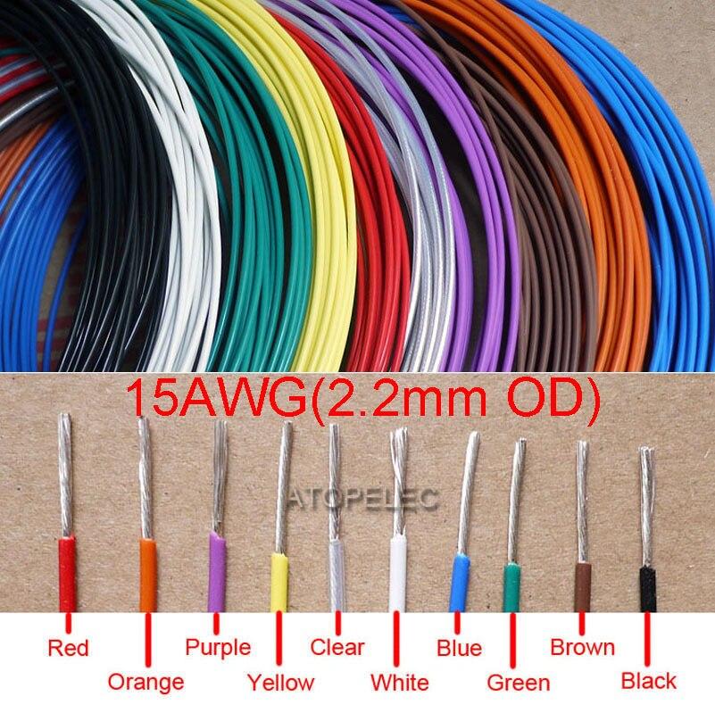 15AWG 2,2mm OD alambre FEP plateado de alta pureza OFC Cable de cobre HiFi Audio DIY negro/rojo/amarillo/verde/azul/blanco/claro