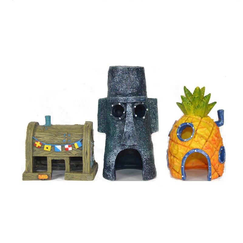 Decoración de acuario de pecera para casa de Bob Esponja y Squidward, accesorio de adorno para el hogar de dibujos animados de piña