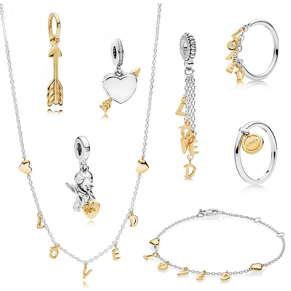 2020 nuevo estándar de moda 925 plata esterlina Cupido flecha Ángel colgante encanto anillo carta de amor pulsera collar medalla anillo