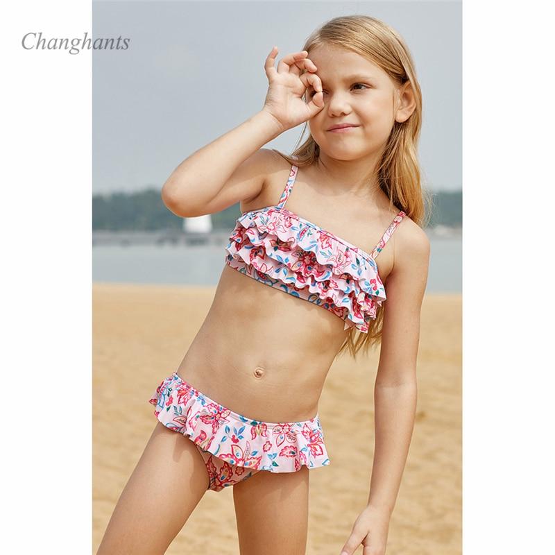 New Model Girls Bikini Set Kids Two Piece Swimwear Layer Flower Children 2 Pieces Swimsuit Girl Bathing Suit Child Beach Wear