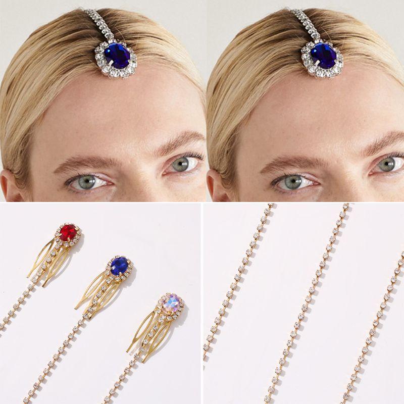 Mujer cadena para el pelo de novia Clip Cristal de imitación gota tocado frente Rhinestone broche de pelo de joyería peine para fiesta de boda