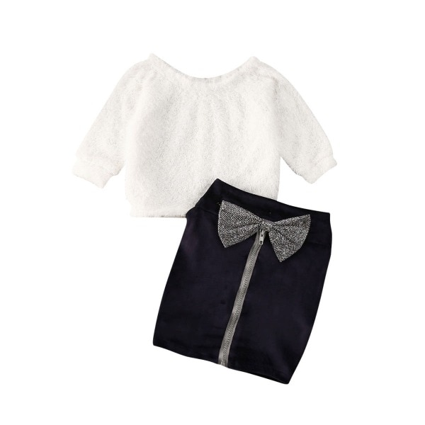 Infantile bébé fille vêtements ensembles fourrure épaules nues à manches longues blanc pull hauts + nœud fermeture éclair noir jupes 1-6 ans