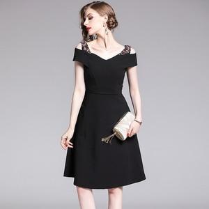 Evening Dresses 2021 Vintage Black Dress Midi Sexy Off Shoulder Dress Evening Dress Elegant Women's Dresses for Women Party