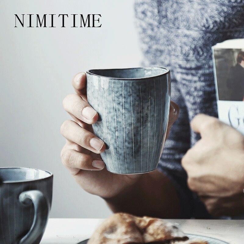 NIMITIME Japanischen Stil Keramik Tee Tasse Suppe Paar Becher Hause Tasse Kreative Büro