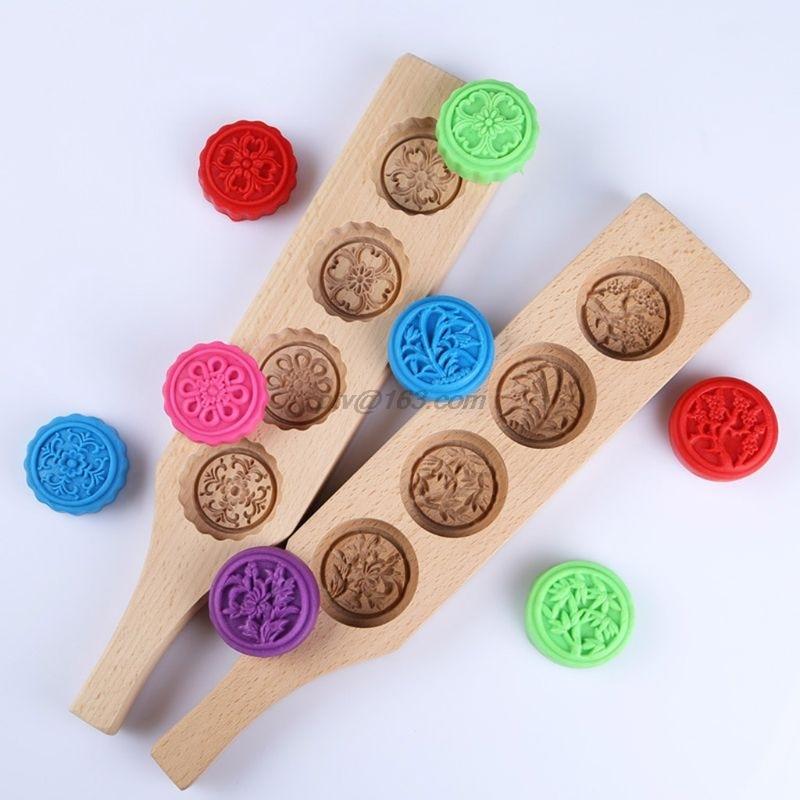 Molde para hornear galletas de madera Mooncake 3D flor Fondant Luna herramientas para decorar tartas