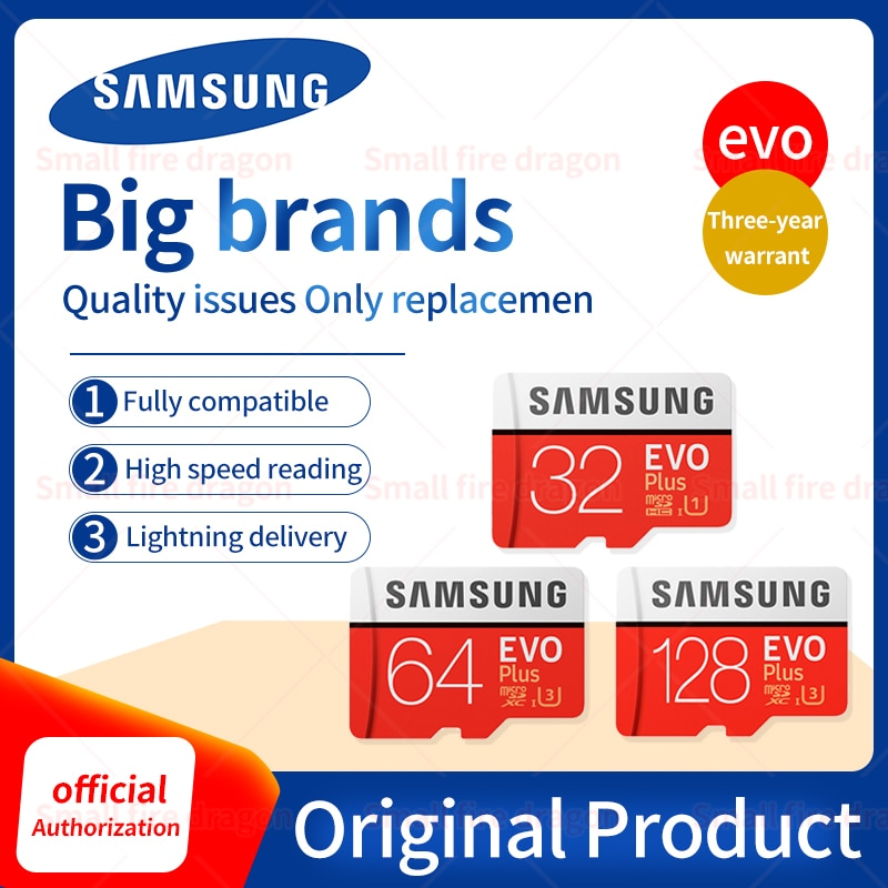 SAMSUNG EVO-tarjeta Micro SD, 128 GB, 32GB, 64GB, 256GB y 512GB, U1 U3, tarjeta de memoria Micro SD de 32 64/128 GB, tarjeta Flash SD/TF para teléfono