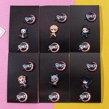 Conjunto de 2 unids/set de iconos de dibujos animados de Demon Slayer, pines esmaltados de estilo Kimetsu No Yaiba, botones, insignias, broche de Anime para amantes de la camisa vaquera, pines de solapa