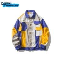 hip hop streetwear color block patchwork denim jacket embroidery letter jacket coat 2021 men autumn harajuku cotton jacket coat