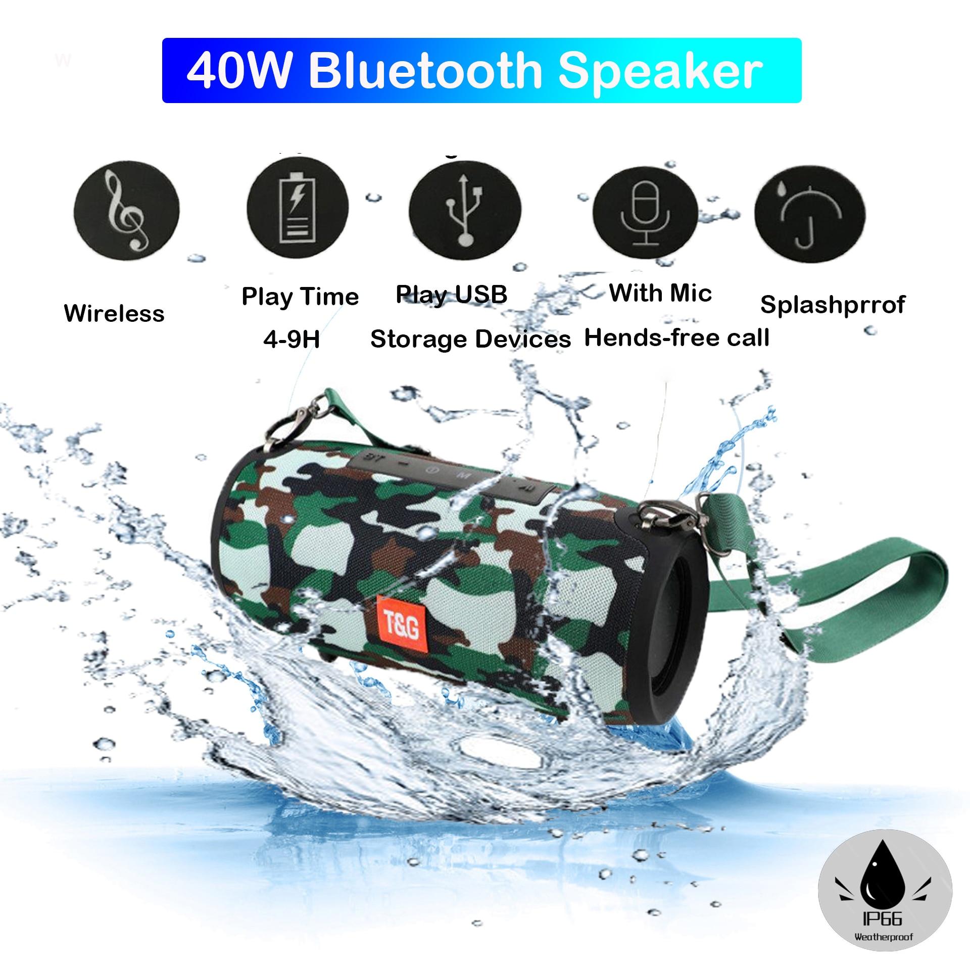 Portable Bluetooth Speaker 40w Wireless Bass Column Waterproof Outdoor Speaker Support AUX TF USB Boom box Stereo Loudspeaker