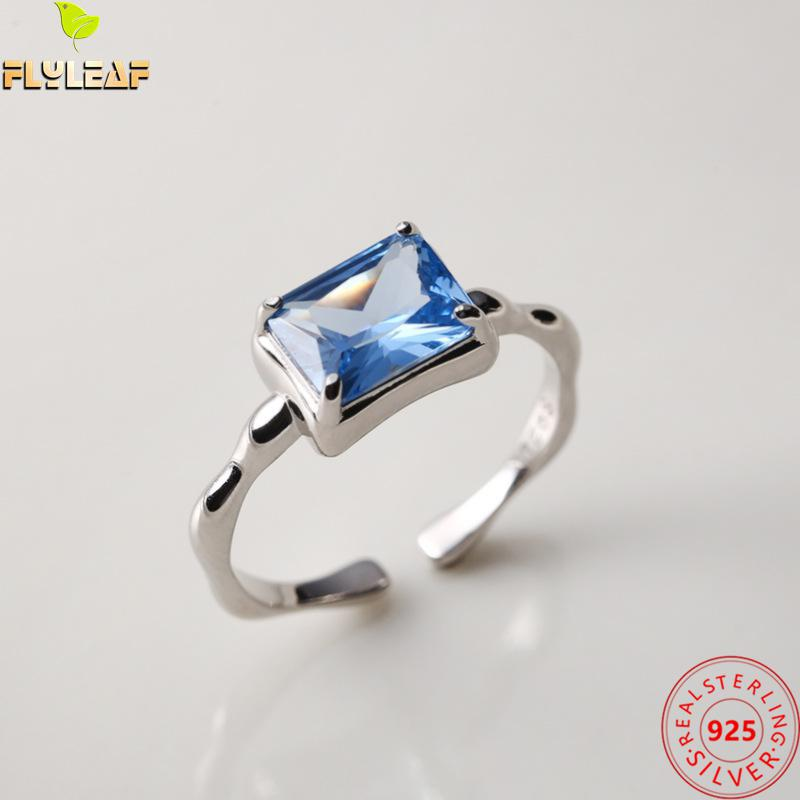 100% 925 Sterling Silver Rings For Women Rectangular Sapphire Open Ring Fashion Fine Jewelry Femme Simple Ins Style