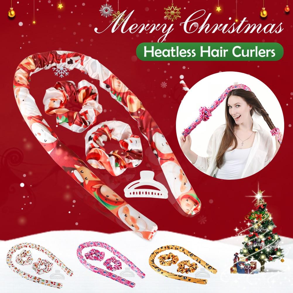 Heatless Hair Curlers Christmas Styles Hair Curling Rod Headband with Hair Ties & Clips No Heat Hair