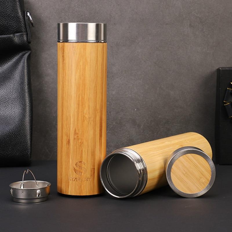 1 Uds. Creativo 500ml bambú madera termo taza 304 Acero inoxidable mañana botellas de agua grano de madera bambú coche regalo taza