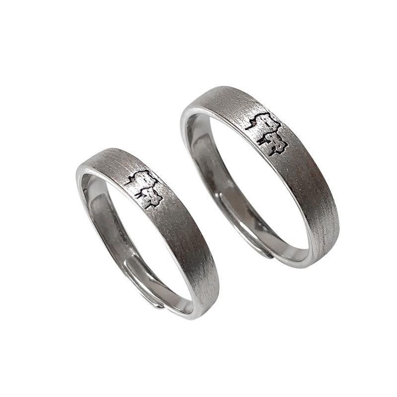 S925 الفضة زوجين خواتم محفورة القط مطابقة خواتم تصميم بسيط الشعور افتتاح حلقة للتعديل خاتم مجوهرات رائعة