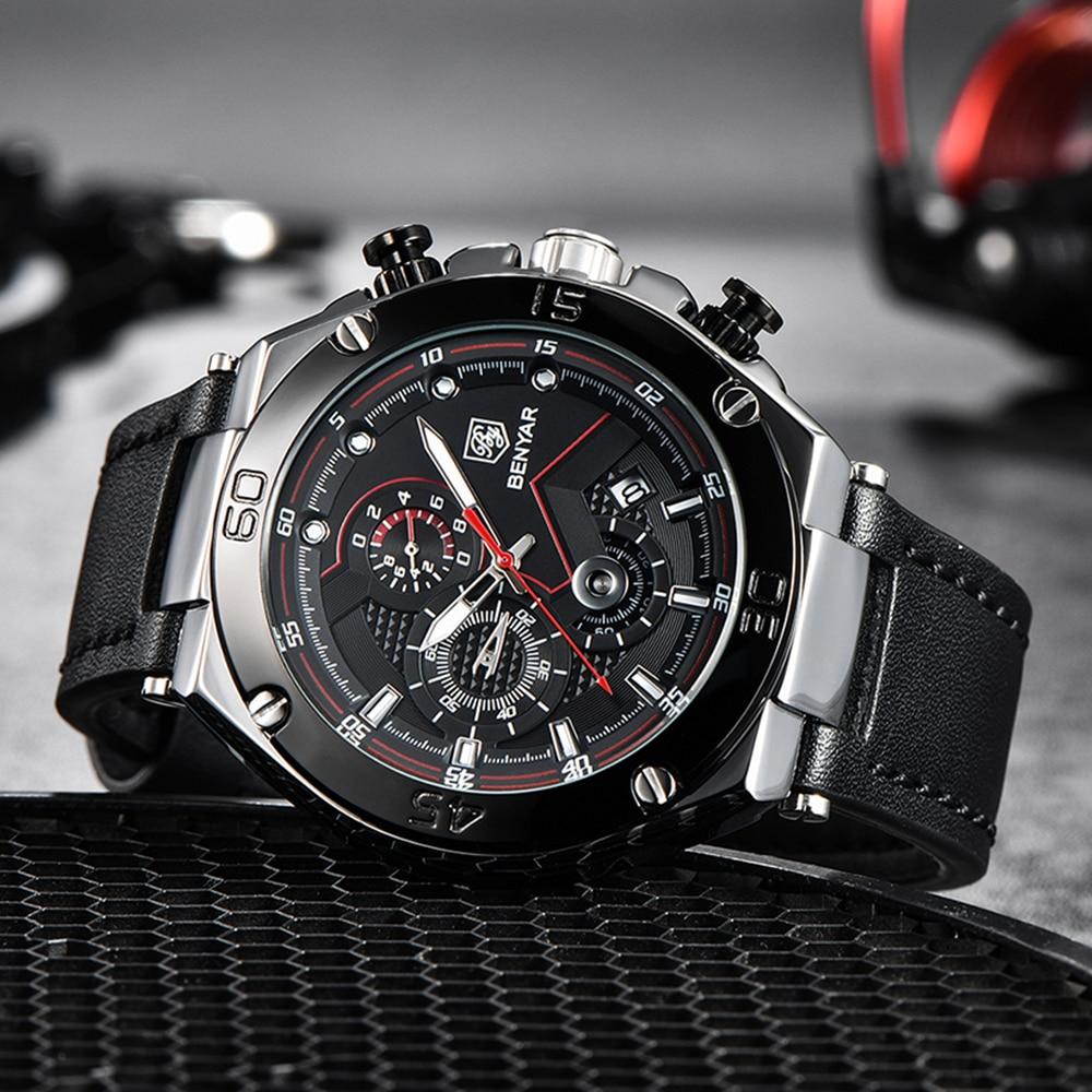 BENYAR MEN Sports Watches Top Brand 30M Waterproof Chronograph Watch for Men Leather Fashion Militar