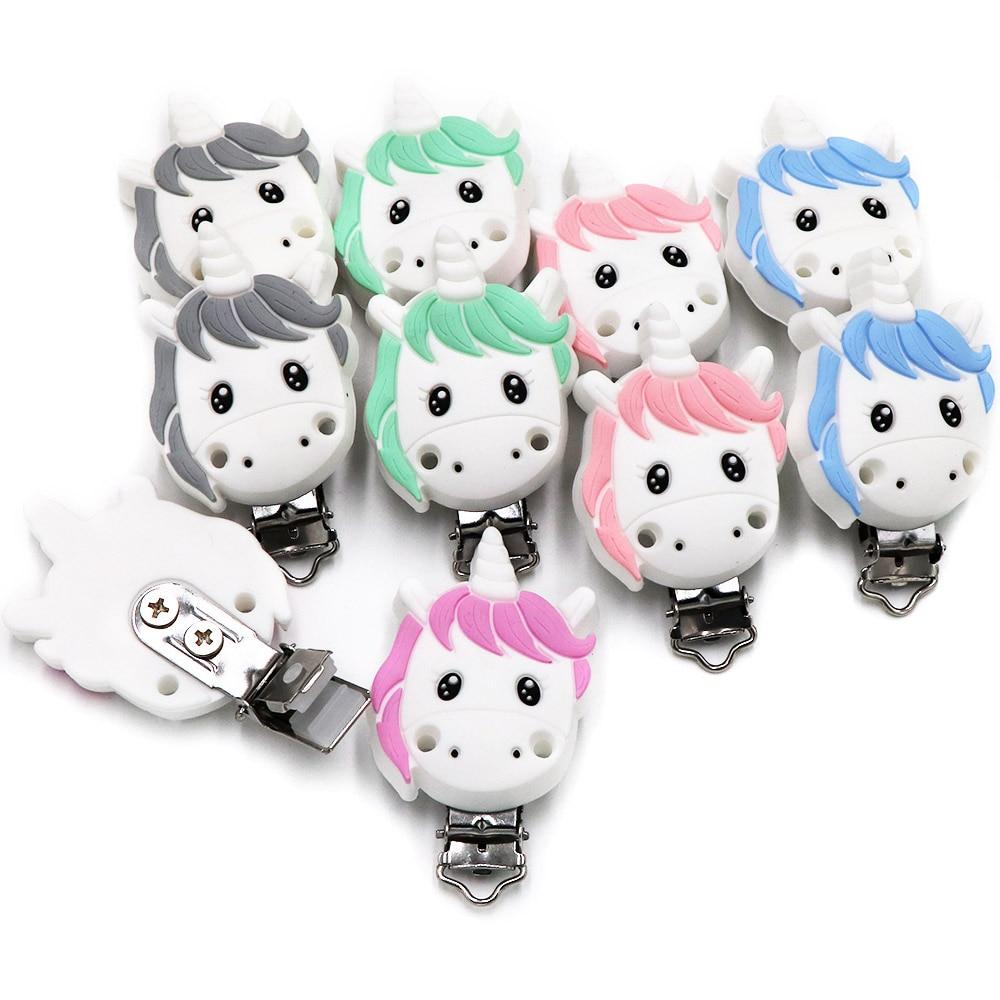 BOBO.BOX 1pcs Unicorn Silicone Pacifier Clips BPA Free Cartoon Animal Teether Beads Pacifier Clip Ba