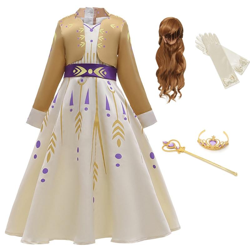 Baby Girls Dress Anna Cosplay Costume Snow Queen Elsa 2 Dresses Princess Anna Dress for Birthday Halloween Cosplay Costume Child