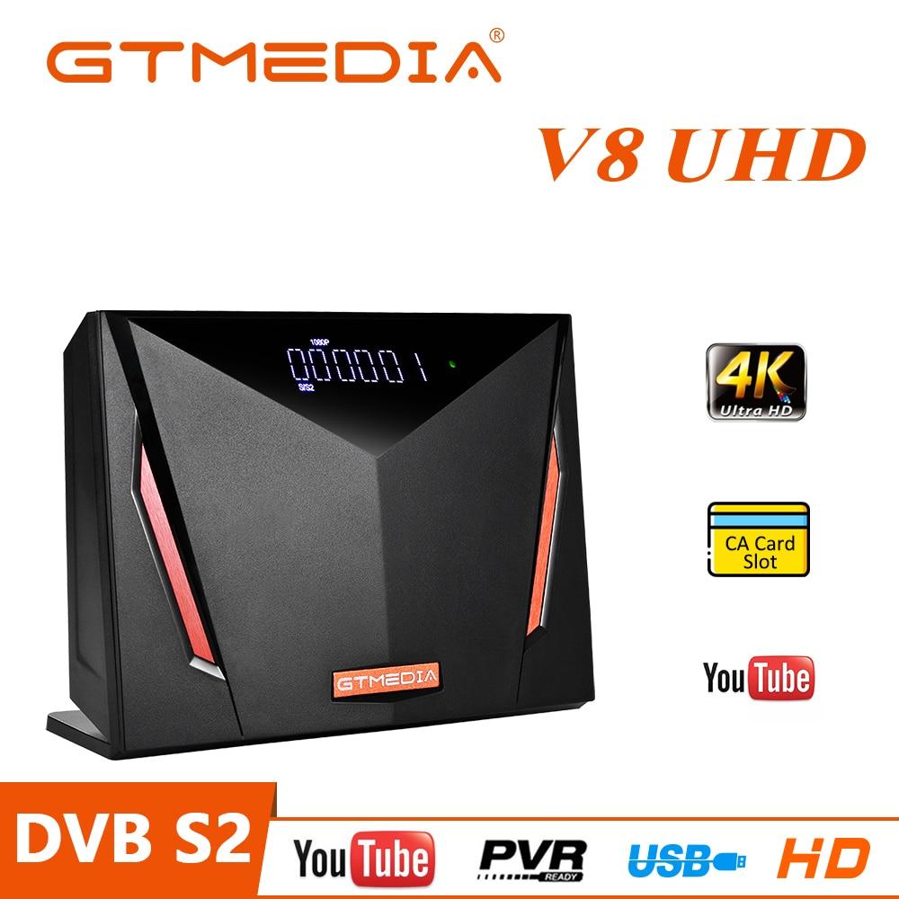 GT الوسائط V8 UHD 4K الأقمار الصناعية فك DVB-S2X + T2 استقبال مع بطاقة الذكية فتحة دعم 4K سكارت/USB/PVR/H.265 HEVC/ WiFi