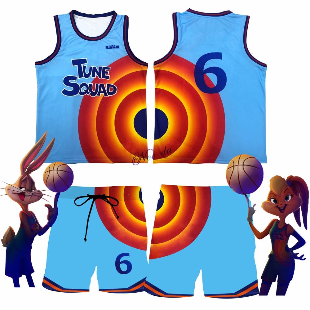 Футболка для детей и мужчин Space Jam 2, футболка для косплея джема es #6, корзина для мелодий, майка, шорты, Новинка лета 2021, баскетбольная форма, сп...