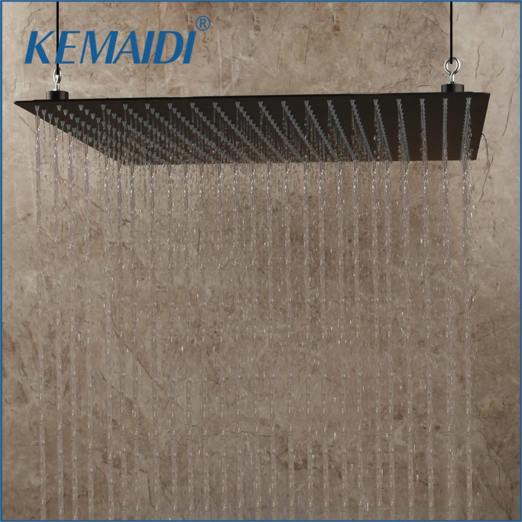 KEMAIDI 20 inch Black Stainless Steel Bathroom Square Rain Shower Head Ceiling Wall Top Sprayer Thin high pressure