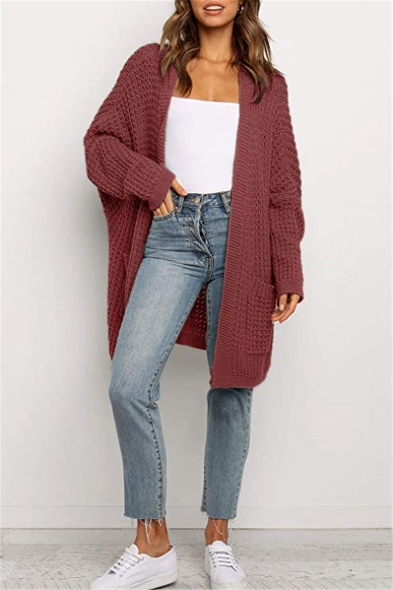 Autumn And Winter Ladies Knitted Cardigan, Loose Large Size Solid Color Sweater, Casual Style, Acrylic  S-XL enlarge