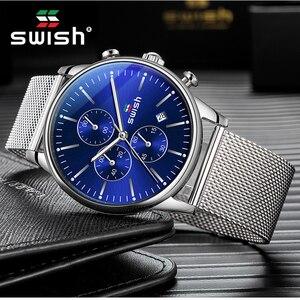 Мужские водонепроницаемые кварцевые часы из нержавеющей стали, в стиле милитари