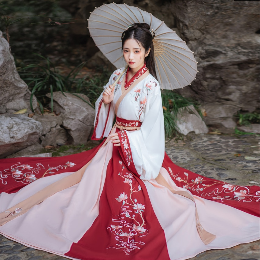 فستان هانفو الصيني التقليدي للنساء ، أزياء خرافية أنشين ، أزياء فتاة تانغ ، خرافية أداء هان سلالة الملابس ، ملابس الرقص الأصلية