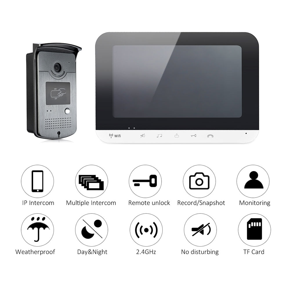 Wired 7 inch Screen Wifi Video Door Phone Intercom Entry System 1 Monitor Support TF Card Record + 1 RFID Doorbell HD Camera enlarge