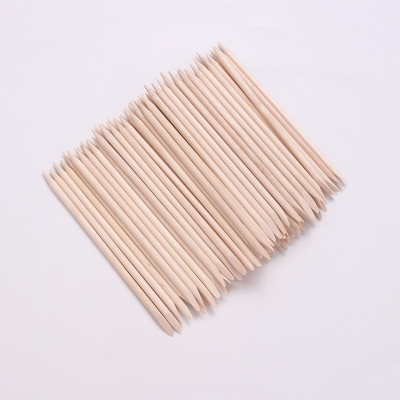 New 100pcs/set 50pcs/set Orange Women Lady Double End Nail Art Wood Stick Cuticle Pusher Remover Ped