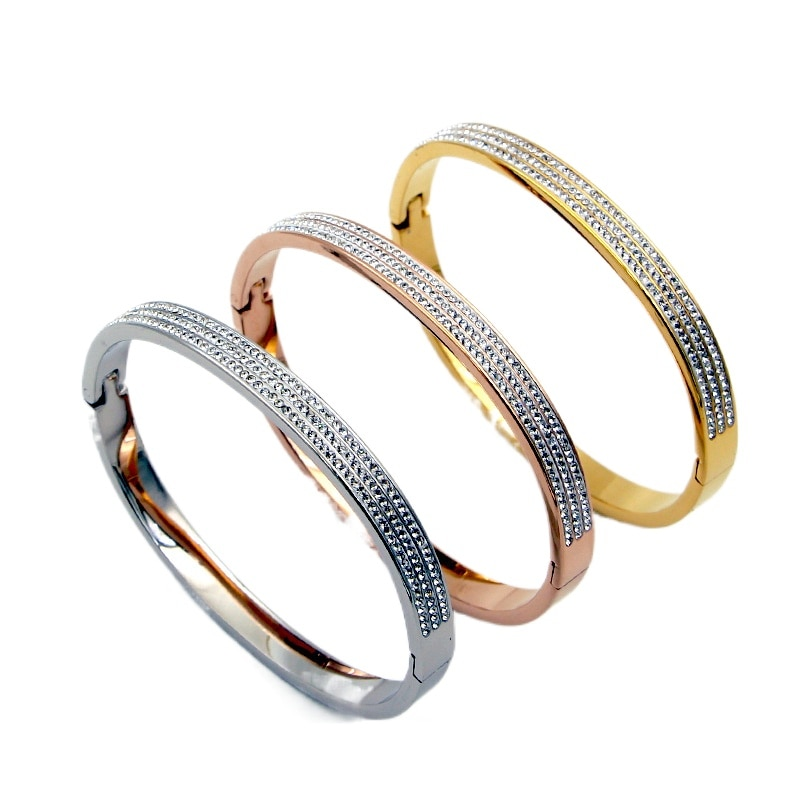 Hot Sale Shining Full Rhinestone CZ Rose Gold Color / Silver Colour Stainless Steel Bangle