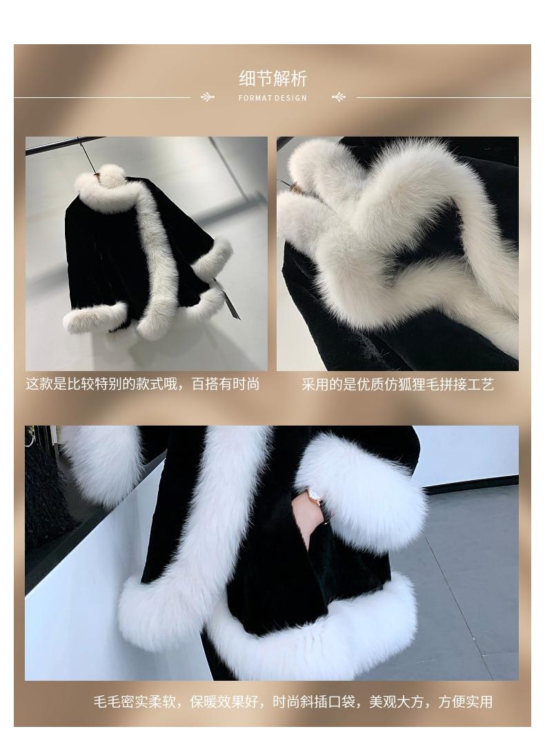 Autumn winter Black and white new medium and long fox fur women's fashion thin warm Rex rabbit fur cape  elegant popular coat enlarge