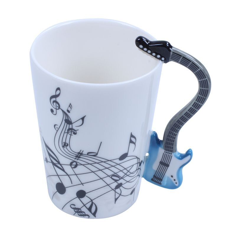 Taza de guitarra de BMBY-300ML, nota musical, taza de té de la leche de café acústica de cerámica, regalo, guitarra eléctrica