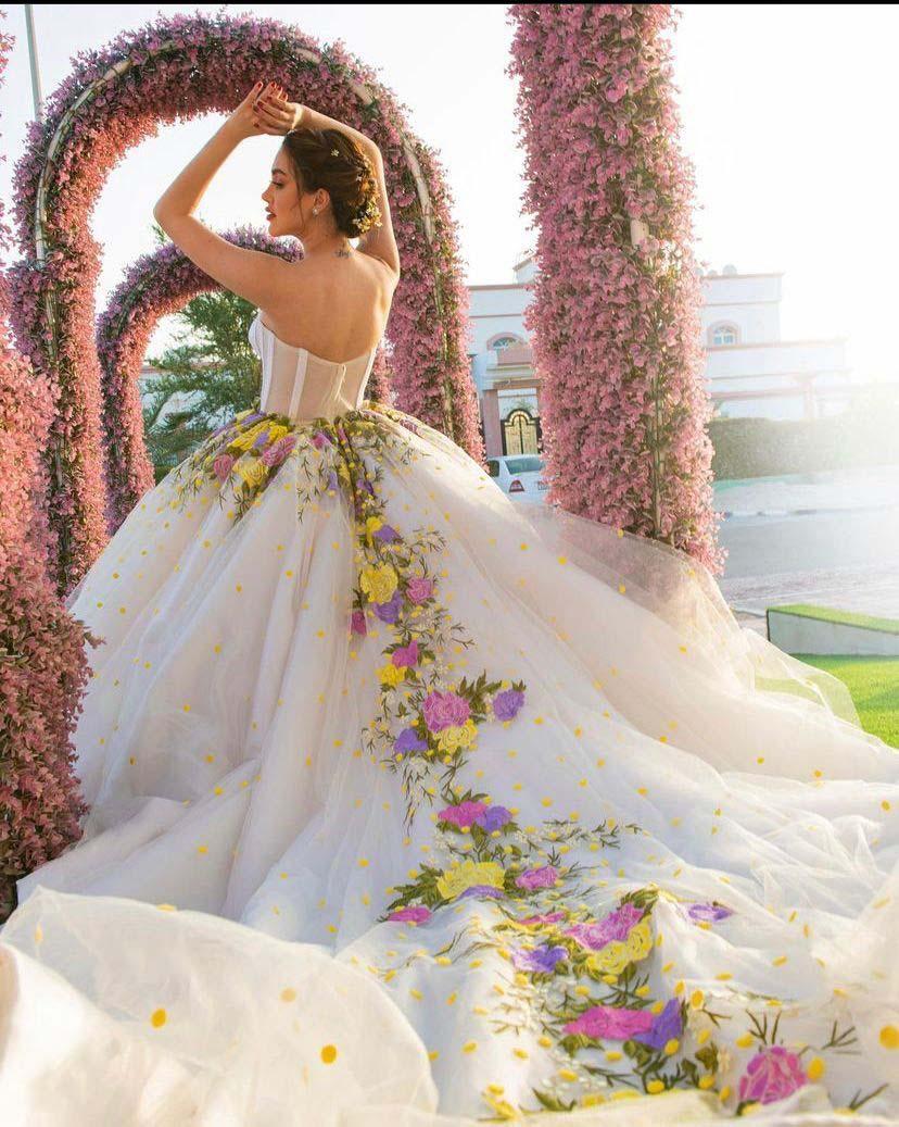 فساتين زفاف وصول جديدة قبالة الكتف الحبيب زين الدانتيل الزهور منتفخ العروس ثوب