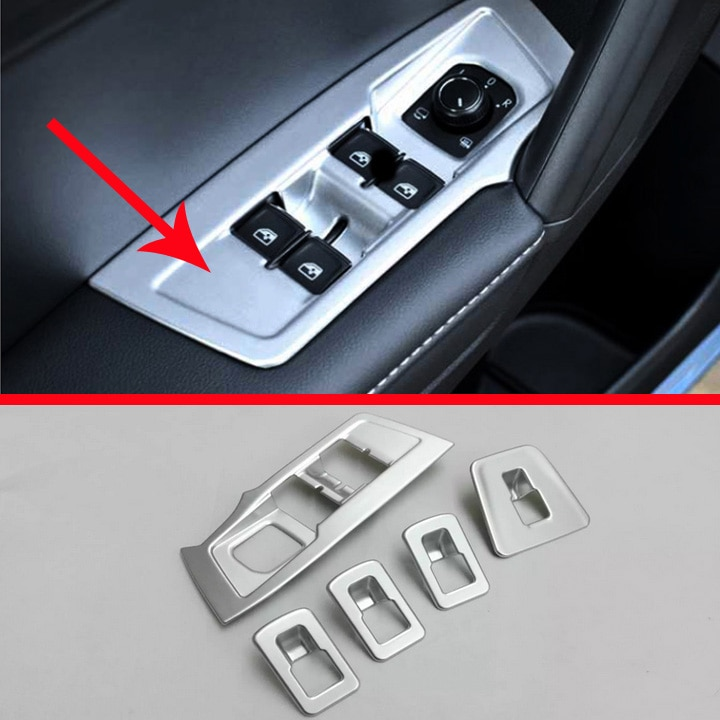 Perla cromada Interior de la puerta de la ventana de los botones de la cubierta del reposabrazos del Panel del interruptor de moldura para Volkswagen VW tizan L 2017 2018