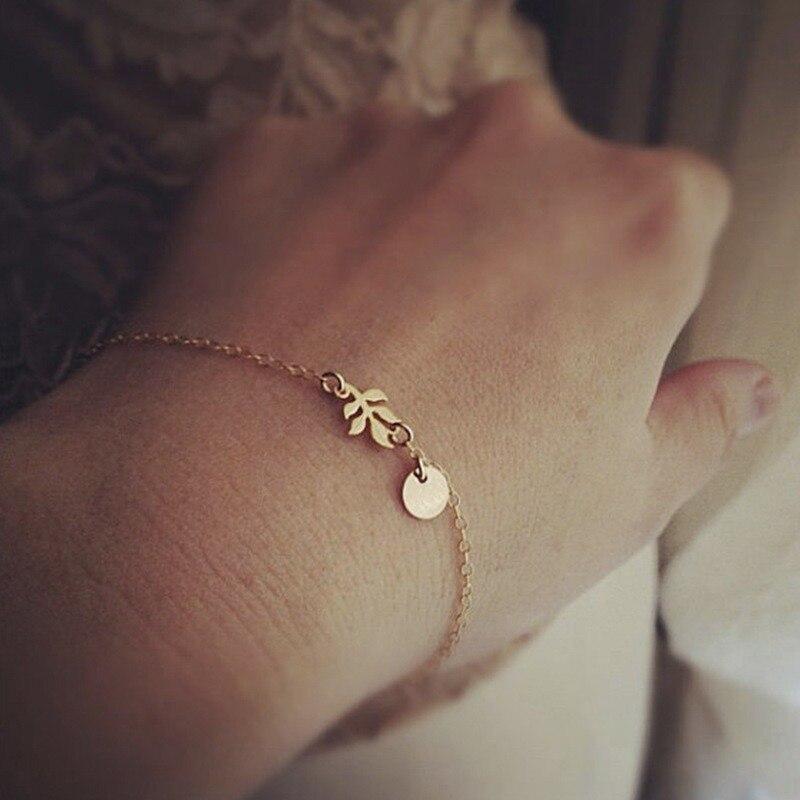 Pulseiras femininas simples pulseira de amizade dos homens planta na moda cor do ouro europeu redondo jóias liga de zinco folha moda braçadeira
