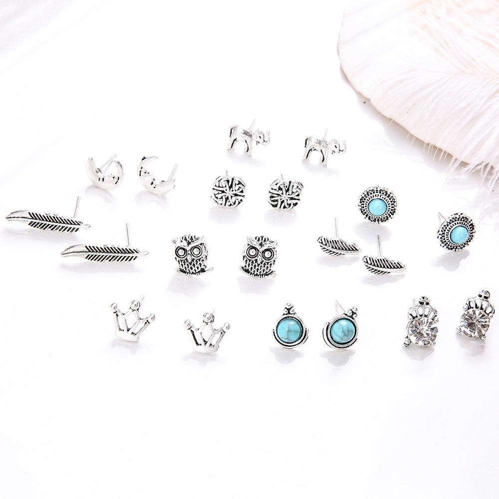 Купить с кэшбэком 10pair/set Vintage small Stud Earrings For Women Owl Elephant Crown Leaves Moon Stone Earring Fashion Jewelry Gift