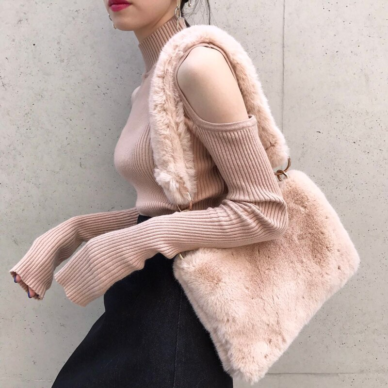 Moda de invierno de imitación de piel de diseñador bolso de hombro de mujer bolso de sobre de embrague bolso de felpa sling bolsos de mensajero para niñas