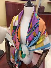 2020 nouveauté motif cheval 65% cachemire 35% soie écharpe twill fait à la main rouleau 140*140 cm squareshawl wrap pour les femmes dame cadeau