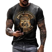 summer t shirt mens loose oversized clothes retro short sleeved fashion fashion hip hop american route 66 letter printing o nec
