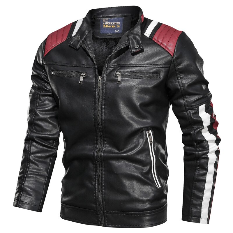 Men 2021 Spring Casual Motor Spliced Fleece Leather Winter Jacket Men Autumn Fashion Biker Vintage Warm Leather Jacket Coat Men