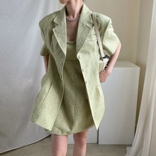CMAZ 2021 Summer 2 Pieces Women Solid Cotton Loose Dress + Blazer Coats Office Lady Turn-down Collar