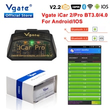 Vgate ELM327 v2.2 iCar Pro obd2 Bluetooth 4,0 для Android/IOS OBD 2 iCar2 автомобильный диагностический сканер адаптер OBDII Автомобильный считыватель кодов