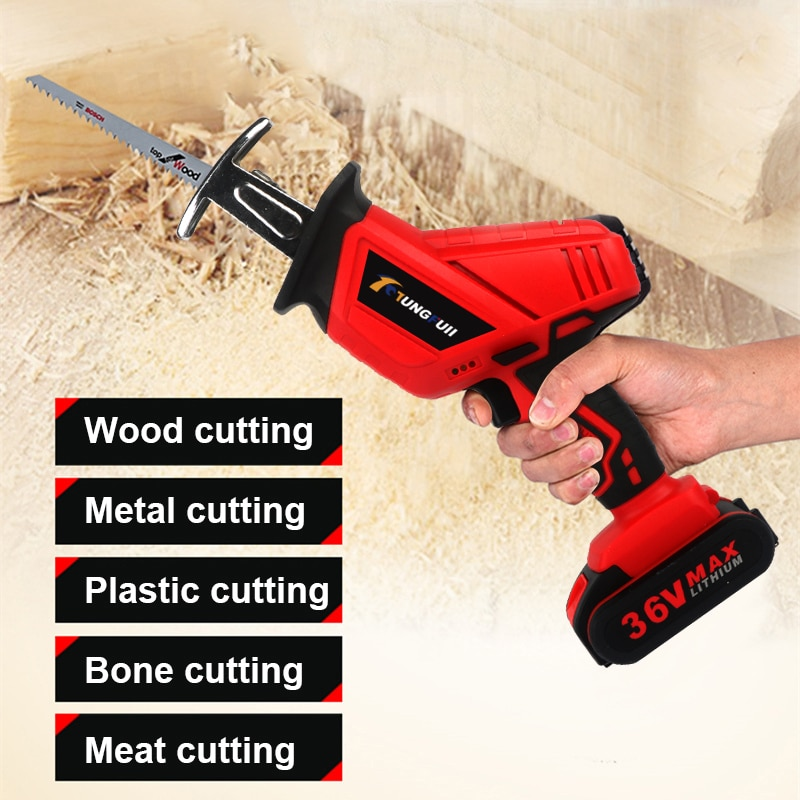 36VF Cordless Reciprocating Saw  Saber Saw Portable Electric Saw for Wood Metal Plasitic Pipe Cutting Power Saw Tool 4PCS Blade