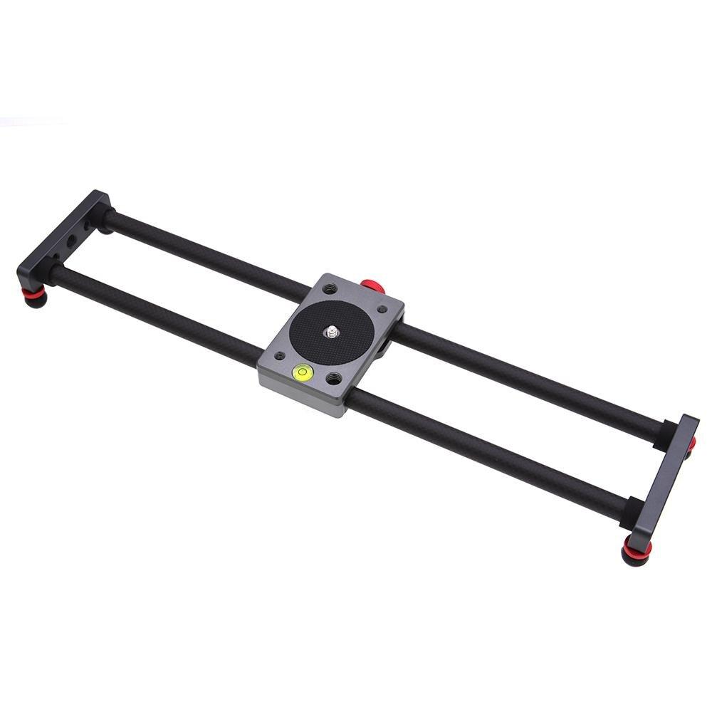 Yiwa fibra de carbono Mini Slider Rail escritorio tipo rodamiento estabilizador Universal trípode para Samrtphone Cámara r30
