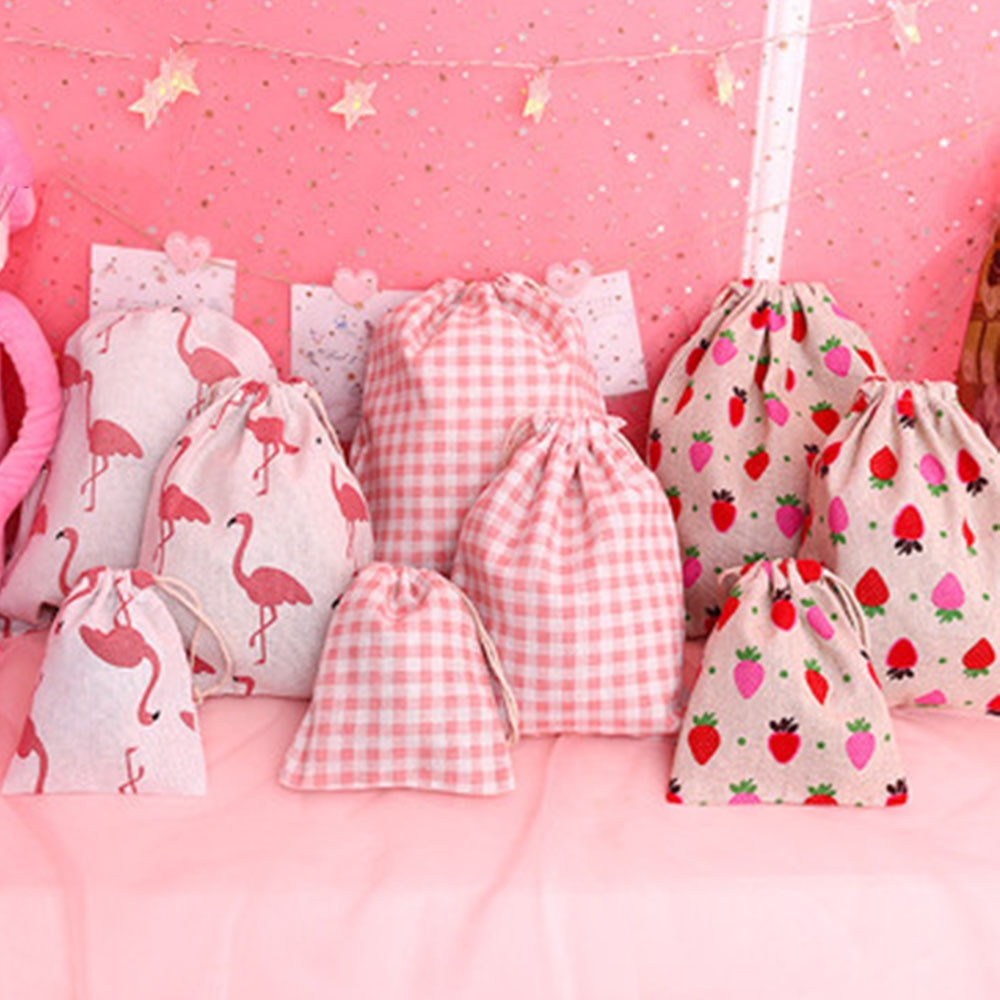 Handmade Cotton Linen Storage Package Bag Drawstring Bag Small Coin Purse Travel Women Small Cloth Bag Christmas Gift pouch