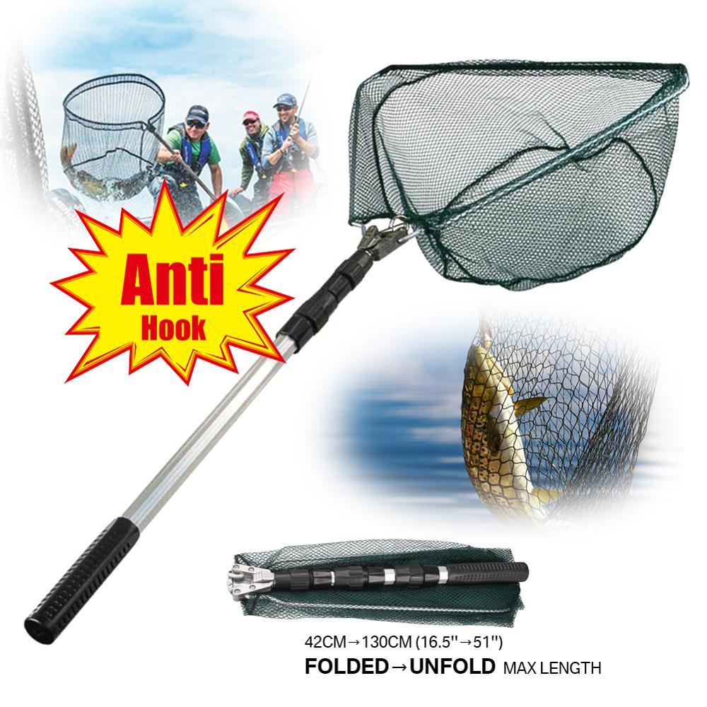 130cm liga de alumínio rede de pesca telescópica dobrável pólo retrátil para a pesca da carpa