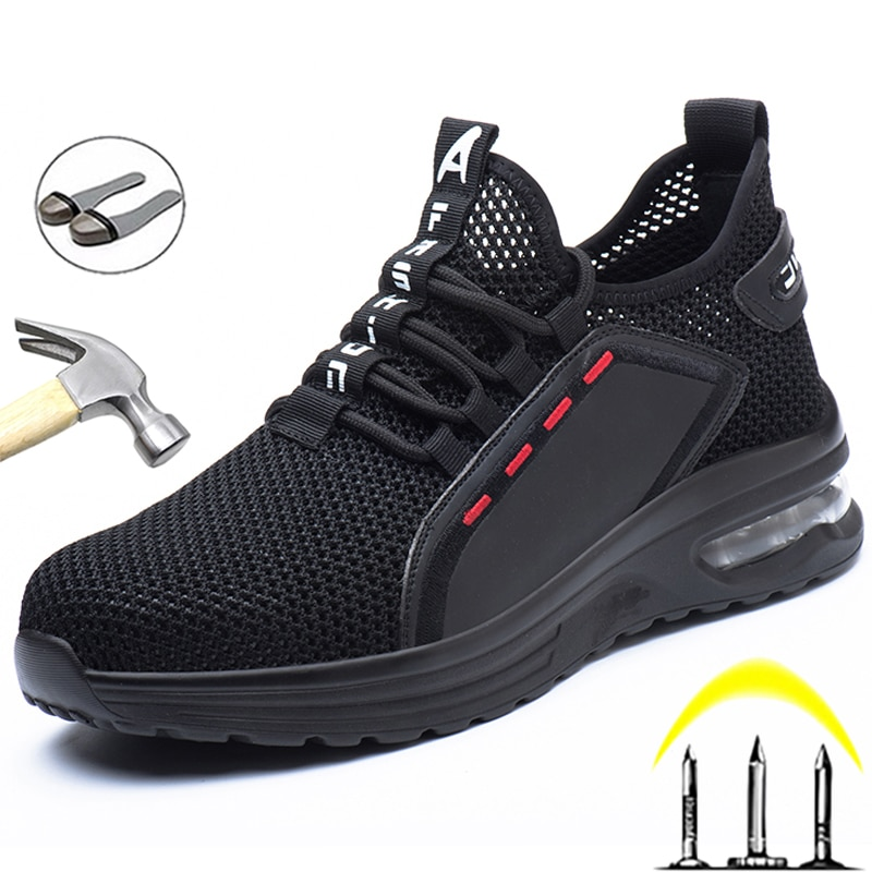 men safety shoes with boots sport work shoes for men protective steel toe cap boots work indestructible construction shoes Breathable Men Work Safety Shoes Anti-smashing Steel Toe Cap Working Boots Construction Indestructible Work Sneakers Men Shoes