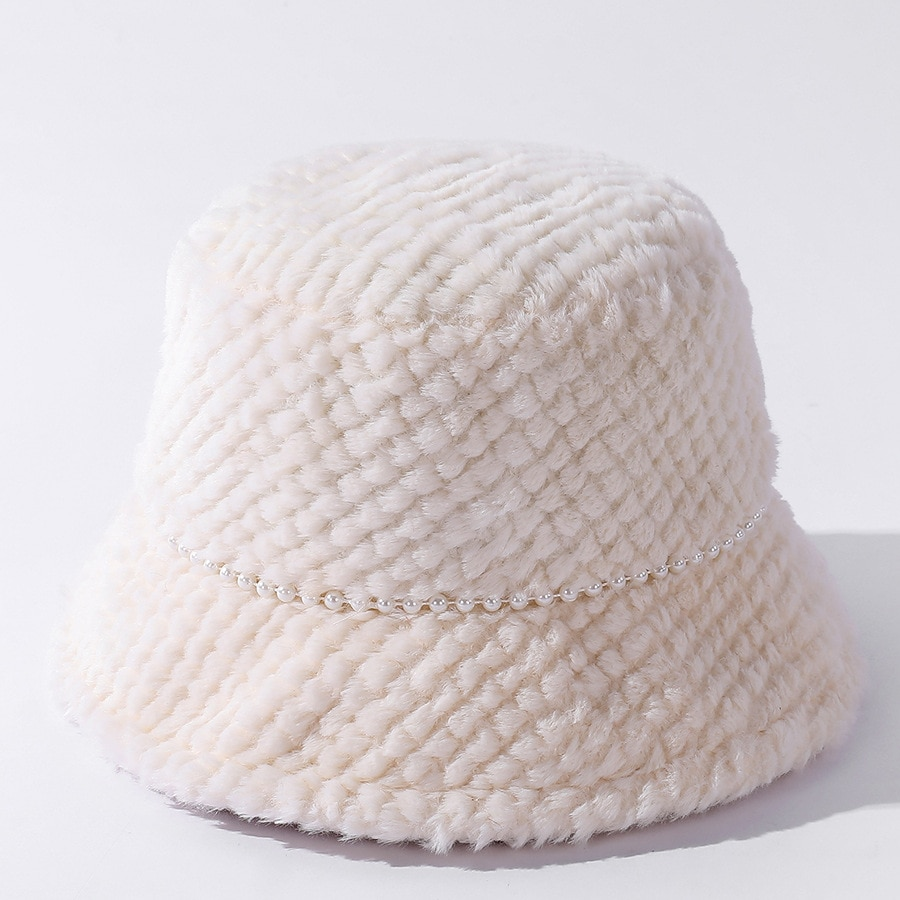 Женская зимняя Панама YQYXCY, Корейская однотонная шапка с бусинами и цепочкой для рыбалки, повседневная женская теплая Панама, НОВАЯ шапка