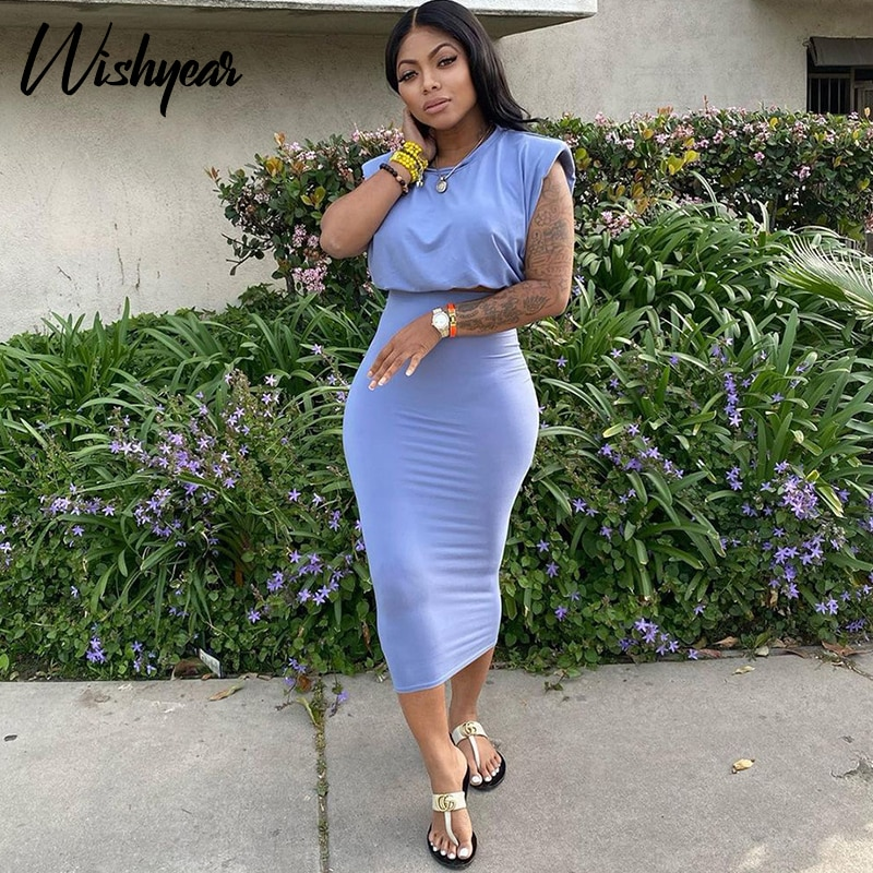Wishyear Sexy Two Piece Set for Women Summer Clothes Crop Top Bodycon Midi Skirts Club Birthday Vacation Outfits Matching Sets
