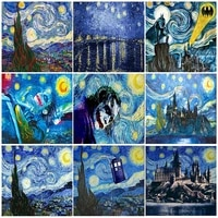 starry sky painting by number oil picture on canvas diy kit acrylic paint landscape abstract coloring by number home decor gift